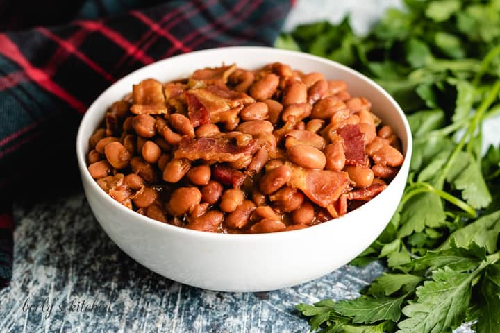 The finished Instant Pot baked beans in a large bowl.