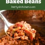 A scoop of the baked beans being lifted from the Instant Pot.