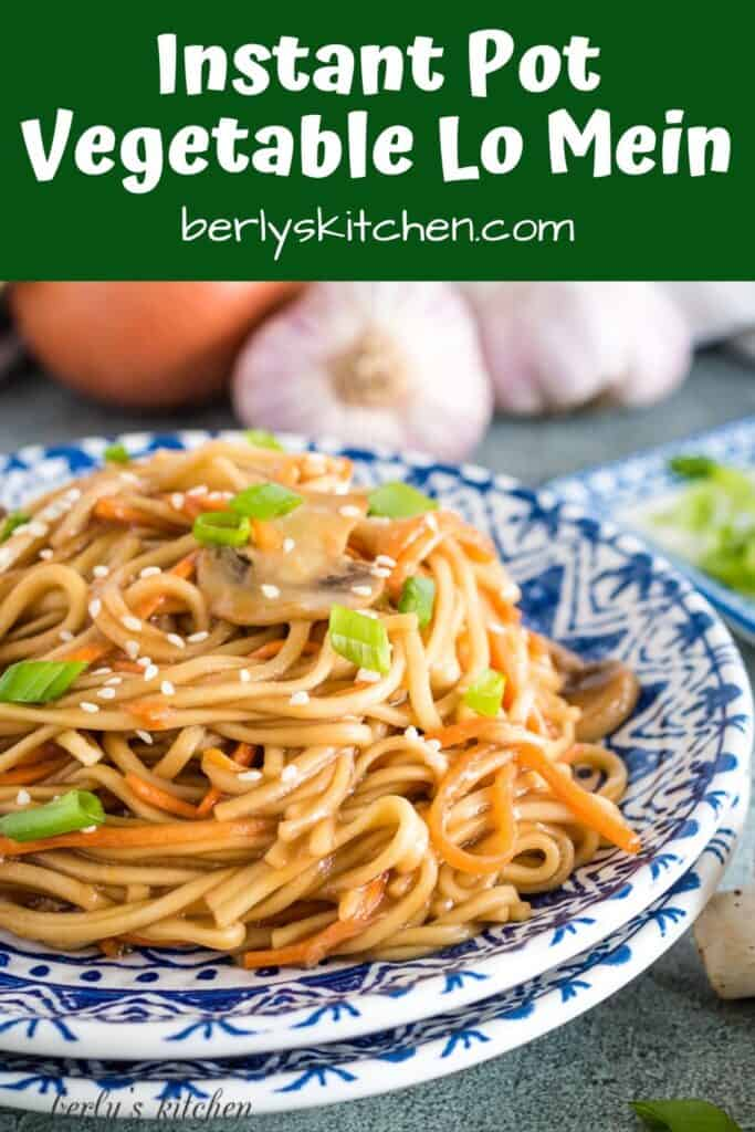 The lo mein topped with sesame seeds and green onions.