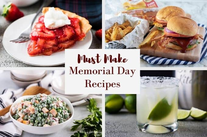 Strawberry pie, burgers, pea salad, and margaritas in a photo collage.