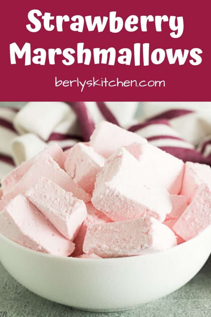 The strawberry marshmallows tossed in powdered sugar.