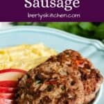 The turkey sausage served with apples and scrambled eggs.