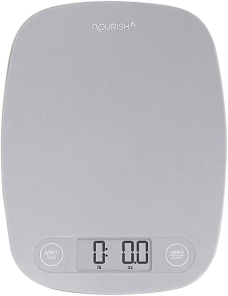 Gray kitchen scale with pounds and ounces.