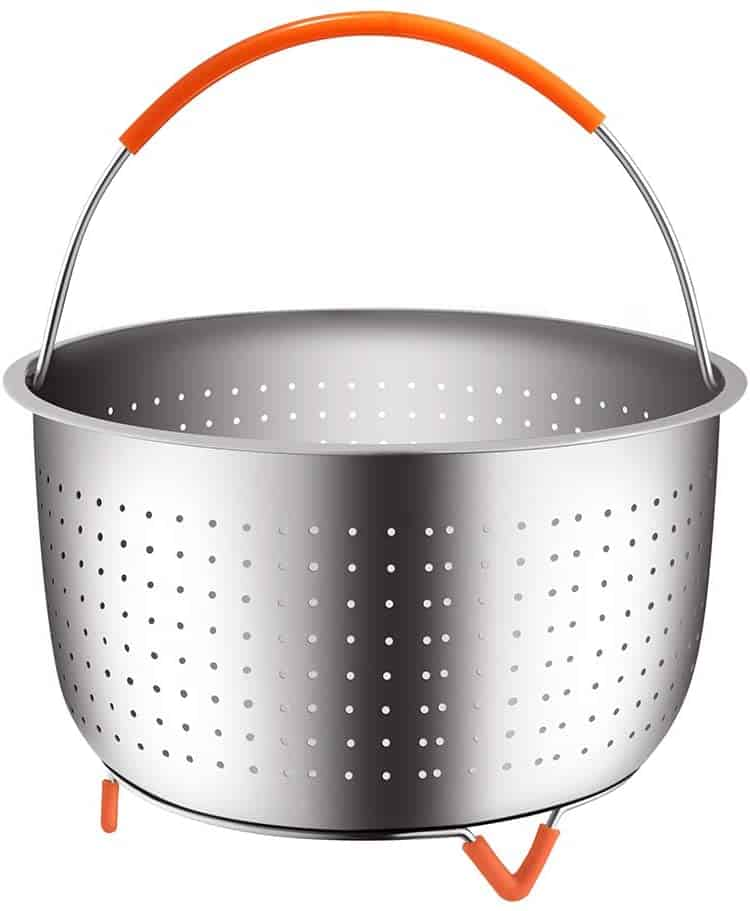 Instant Pot stainless steel steamer basket with orange handle.