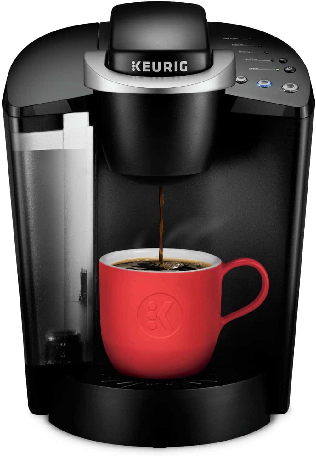 Keurig coffee maker with a red coffee cup.