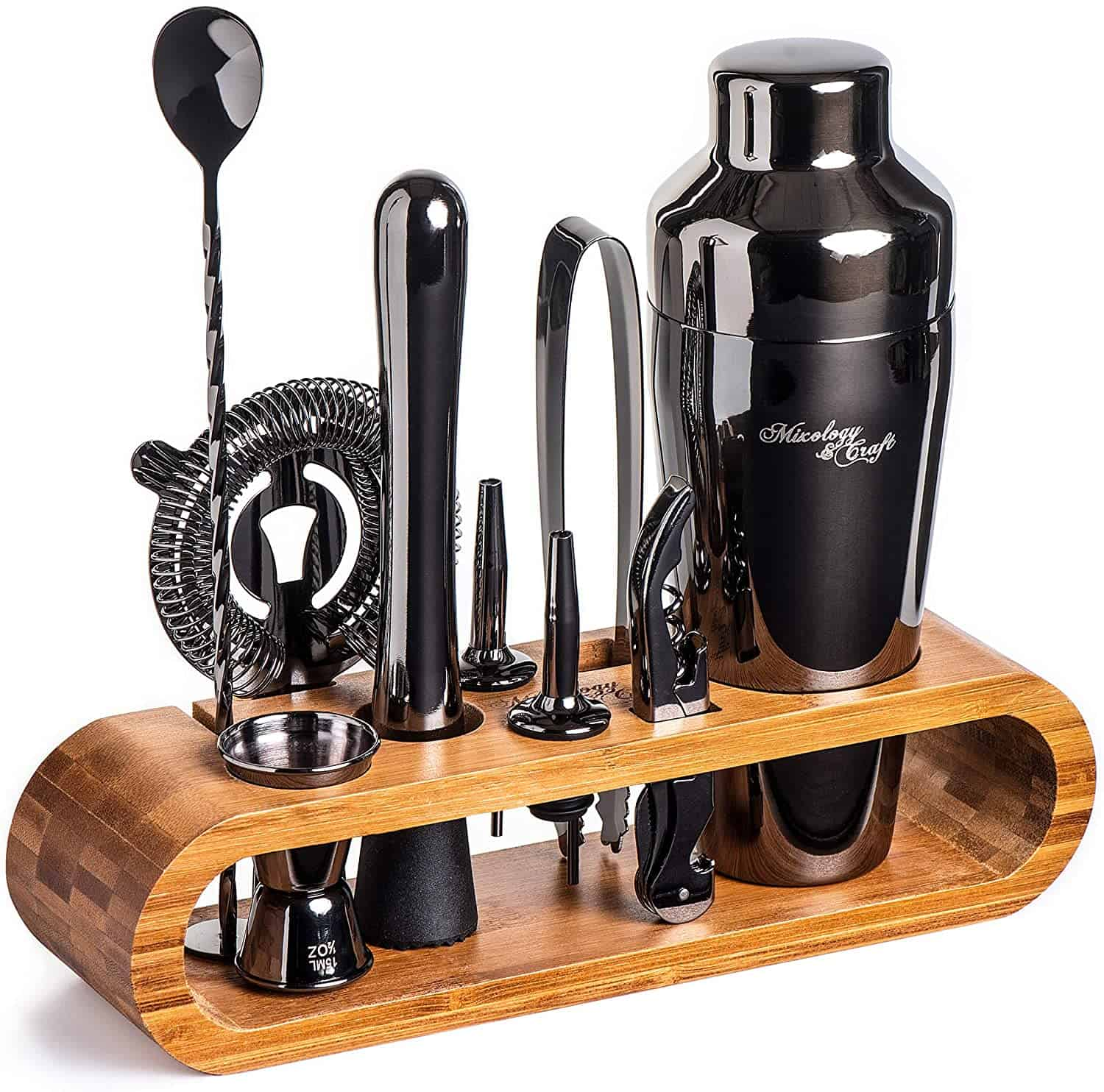 Cocktail equipment in a bamboo holder.