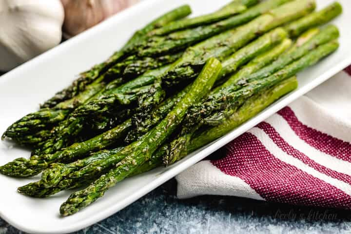 The air fryer asparagus in a long serving dish.