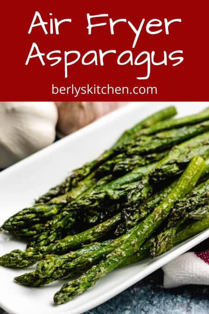The finished air fryer asparagus on a plate.