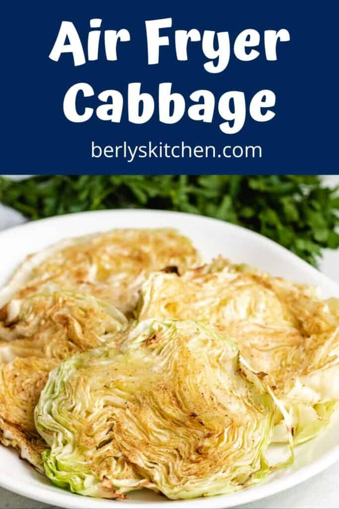 The finished air fryer cabbage served on a plate.