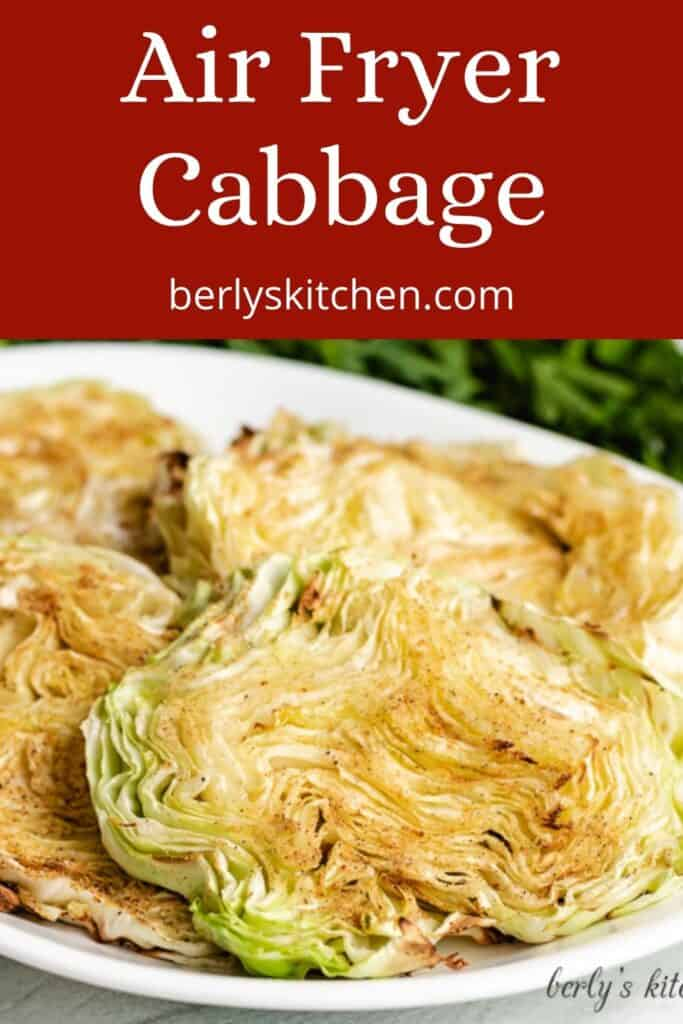 Air fryer seasoned cabbage on a small plate.