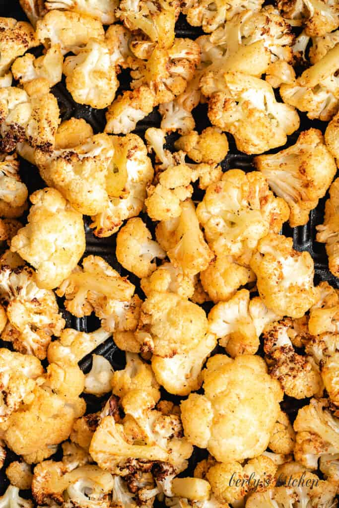 A close-up view of the cooked cauliflower.