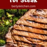 A medium grilled steak that's been marinated with a beer marinade.