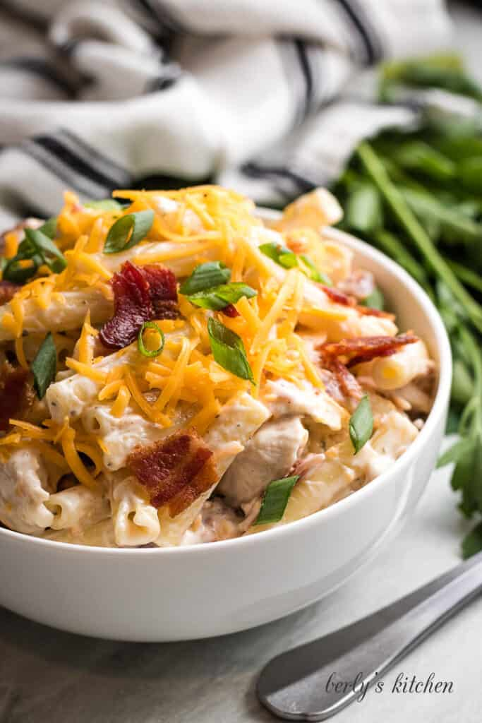 The finished chicken bacon pasta in a bowl.