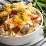 The cold chicken bacon ranch pasta in a bowl.
