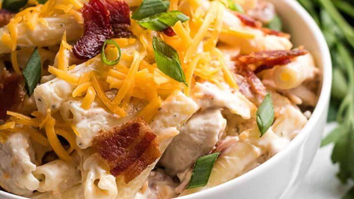 Chicken bacon ranch pasta salad featured image recipes