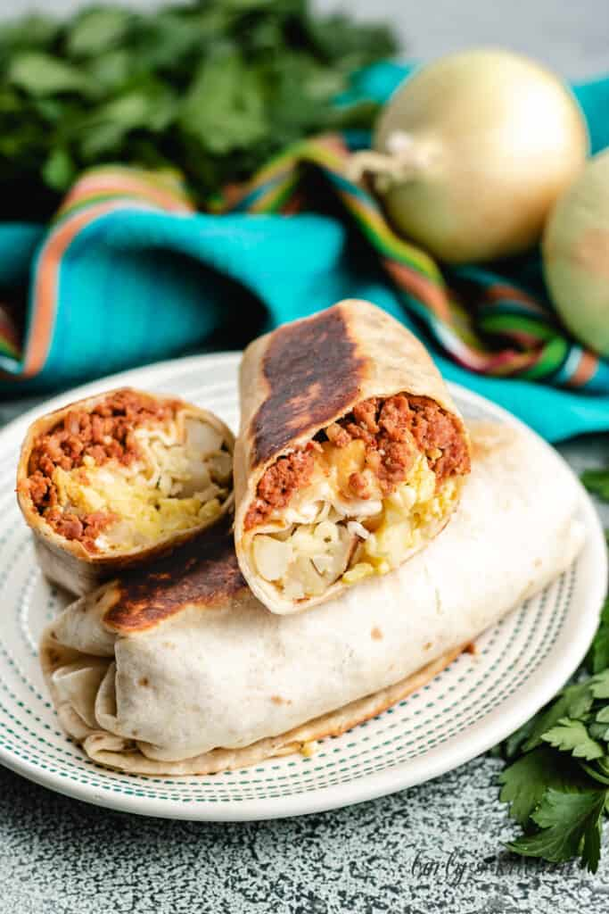 Burritos filled with sausage, eggs, potatoes, and cheese.