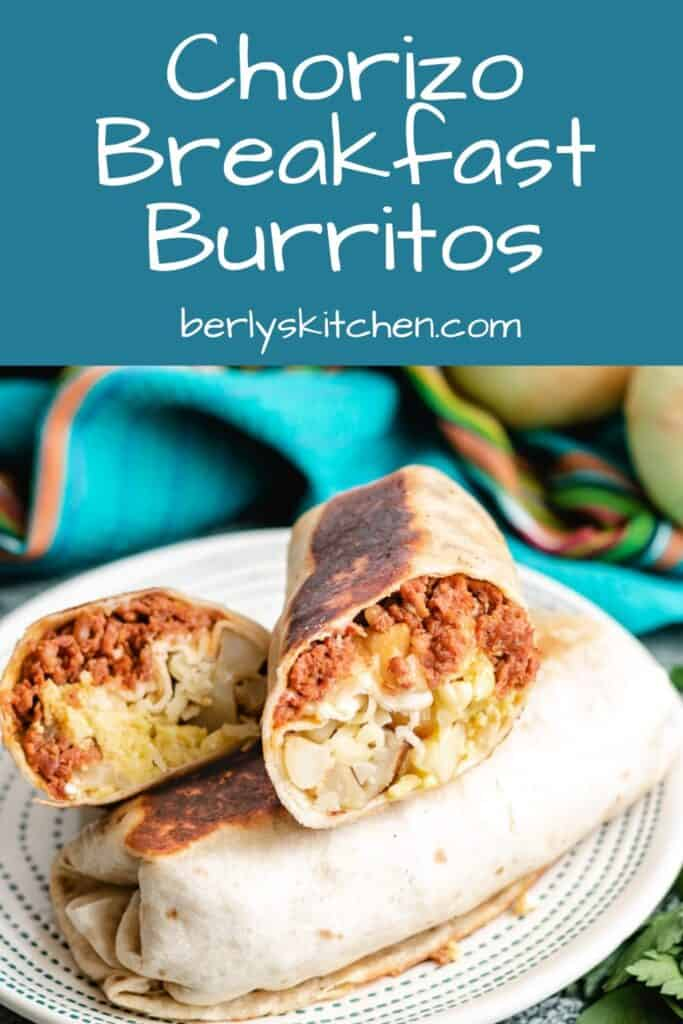 Two finished breakfast burritos on a small plate.