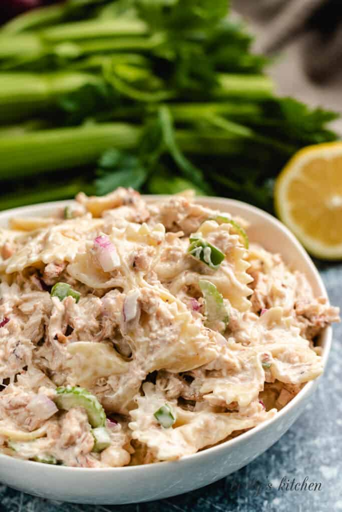 A closer view of the crab pasta salad in a bowl.