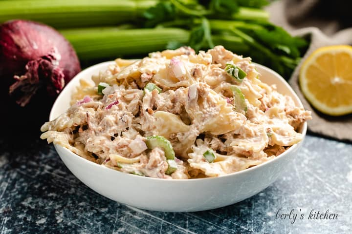 The finished crab salad served in a large bowl.