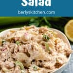 The crab pasta salad made with bow ties in a bowl.
