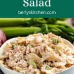 Bow tie crab pasta salad surrounded by fresh veggies.