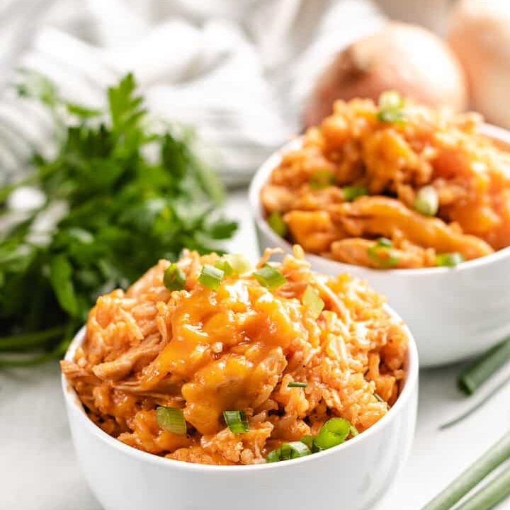Buffalo chicken and rice with green onions