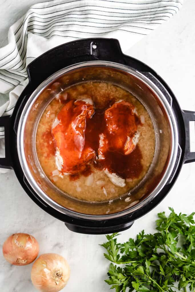 Chicken and rice with buffalo sauce in the instant pot.