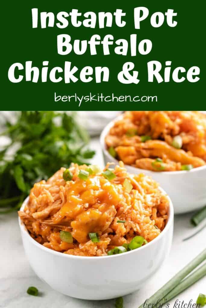 Cheesy chicken and rice with green onions.
