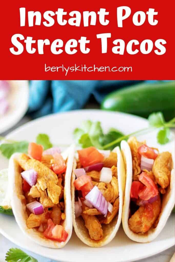 A close-up of the Instant Pot street tacos on a plate.