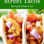 Two Instant Pot street tacos made with Tex-Mex chicken.