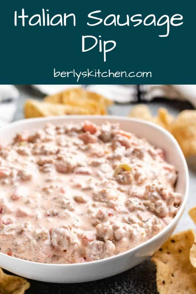 The Italian sausage dip being served with tortilla chips.