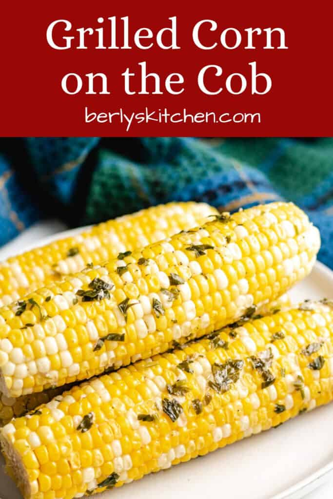 The grilled corn on the cob with the foil removed.