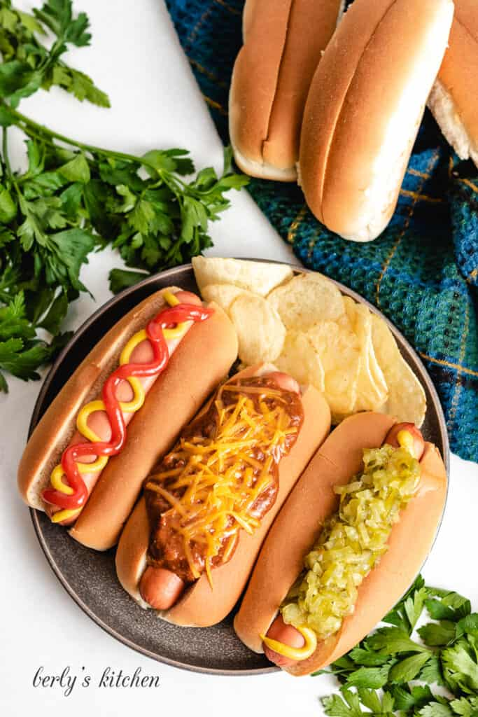 A top-down view of the pressure cooked hot dogs.