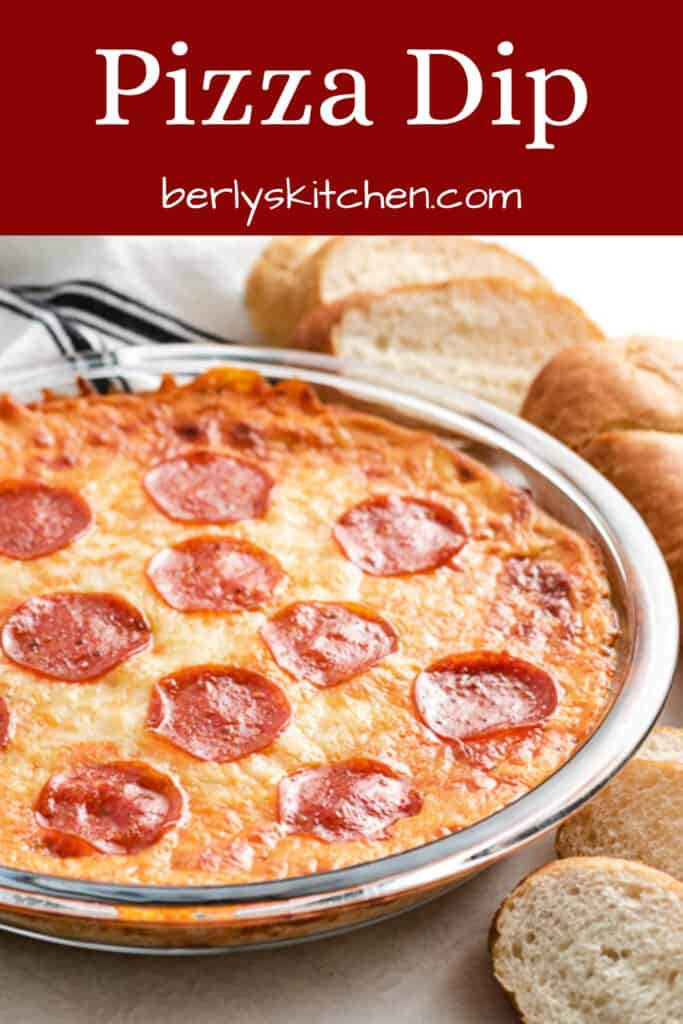 The pizza dip baked in a large pie pan.