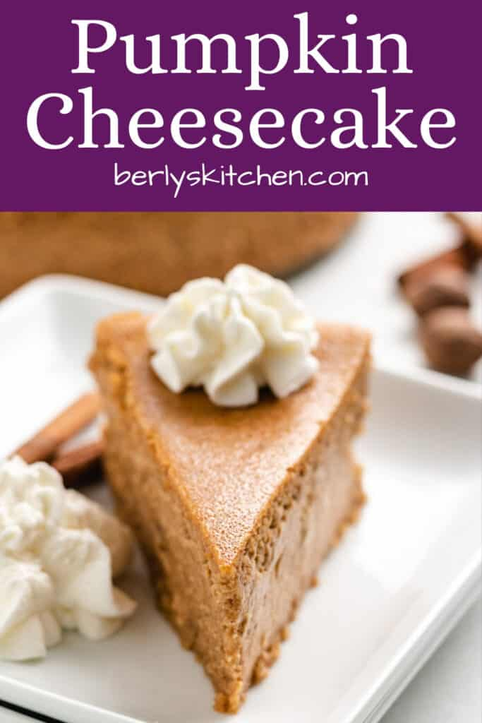 A serving of pumpkin cheesecake on a decorative plate.