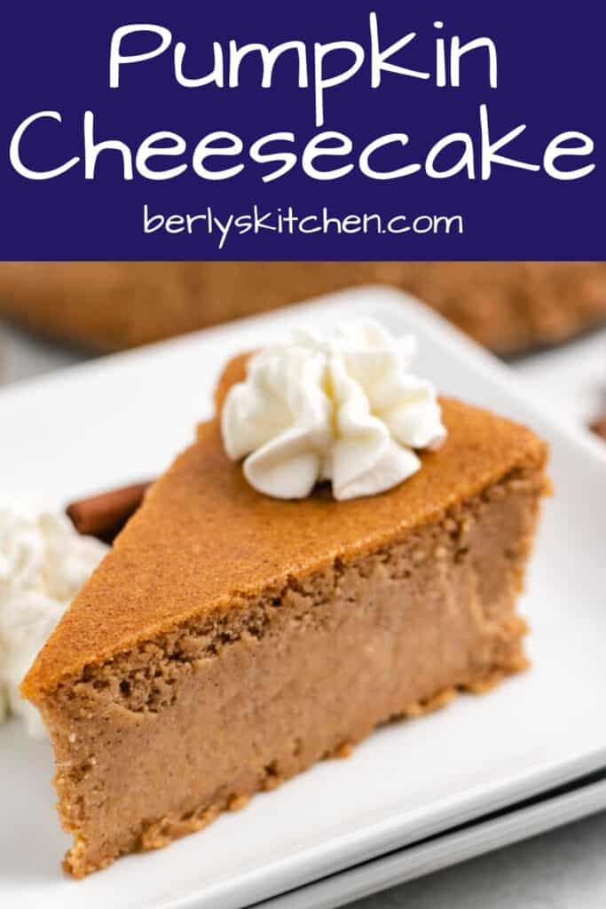 A slice of pumpkin cheesecake on a square plate.