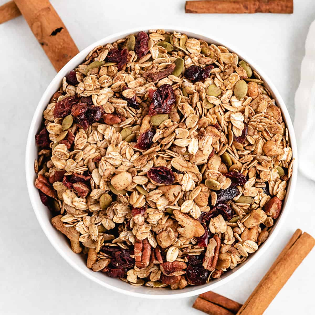 An aerial view of the pumpkin spice granola in a bowl.