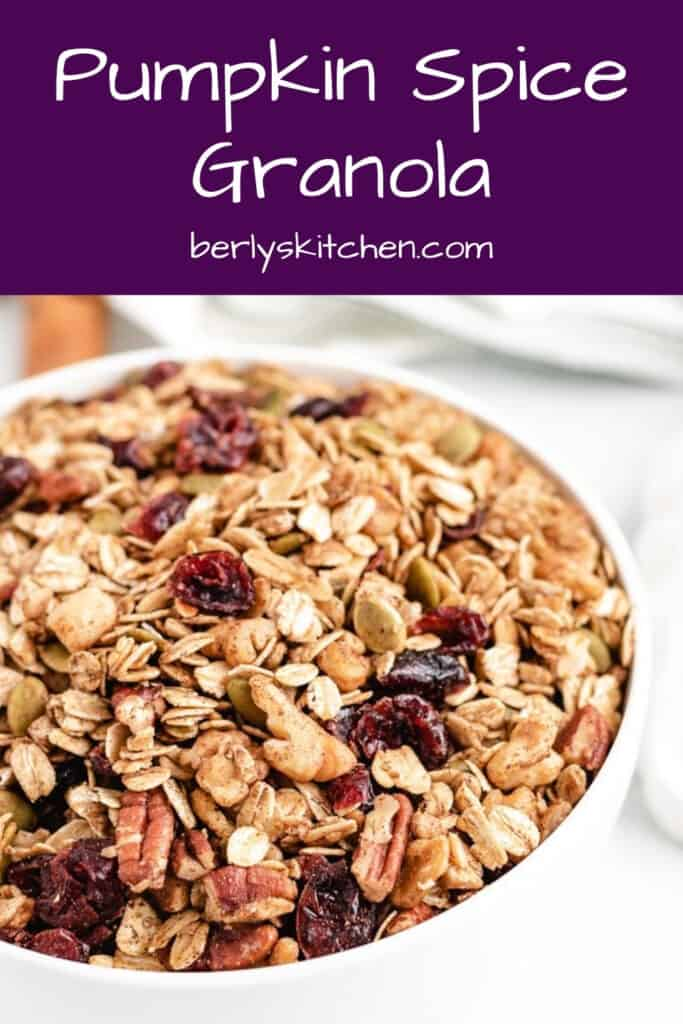 An up-close view of the toasted pumpkin granola in a bowl.