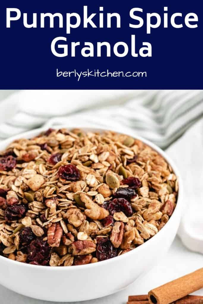 The pumpkin spiced granola in large bowl.