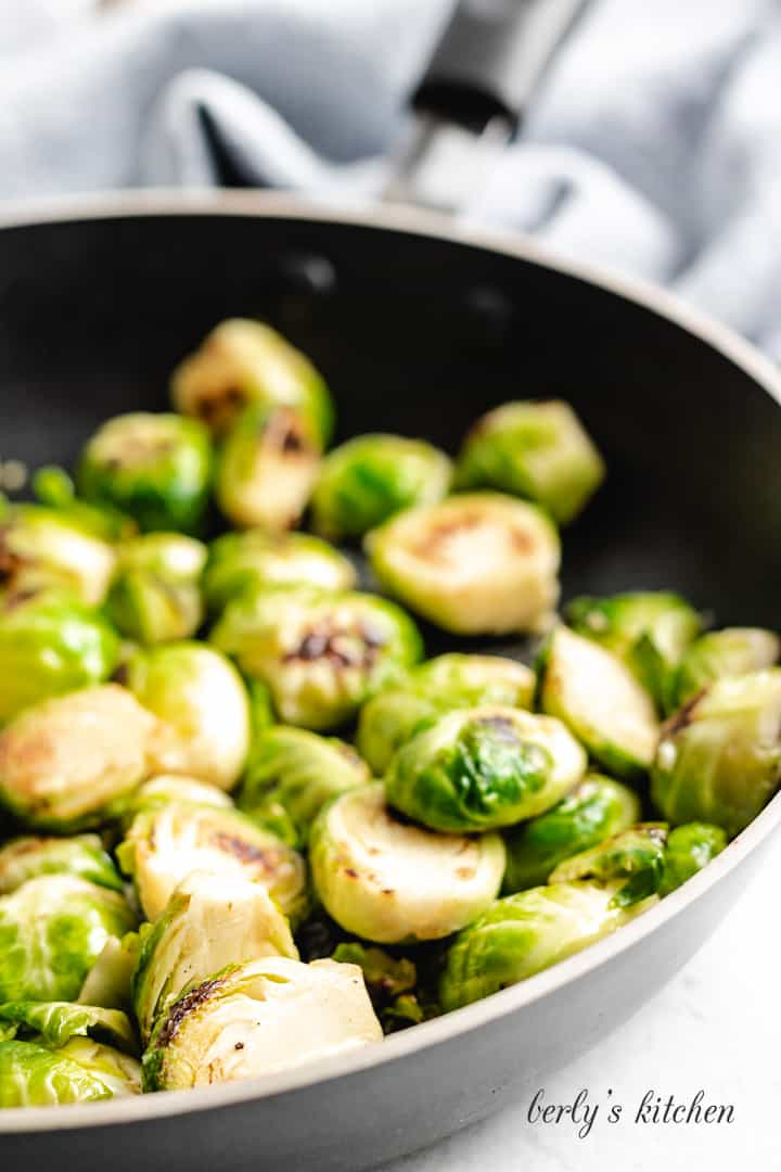 A close-up view of the vegetable in the pan.