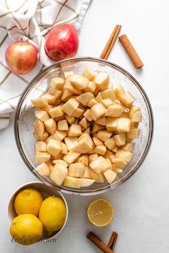 Apples tossed with lemon juice, cinnamon, and sugar.