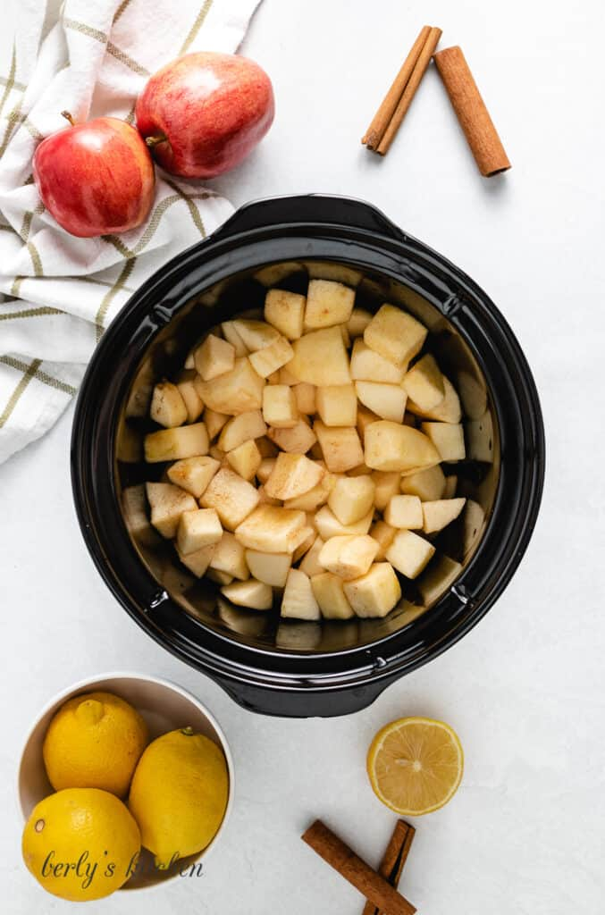 The fruit has been transferred to the slow cooker.