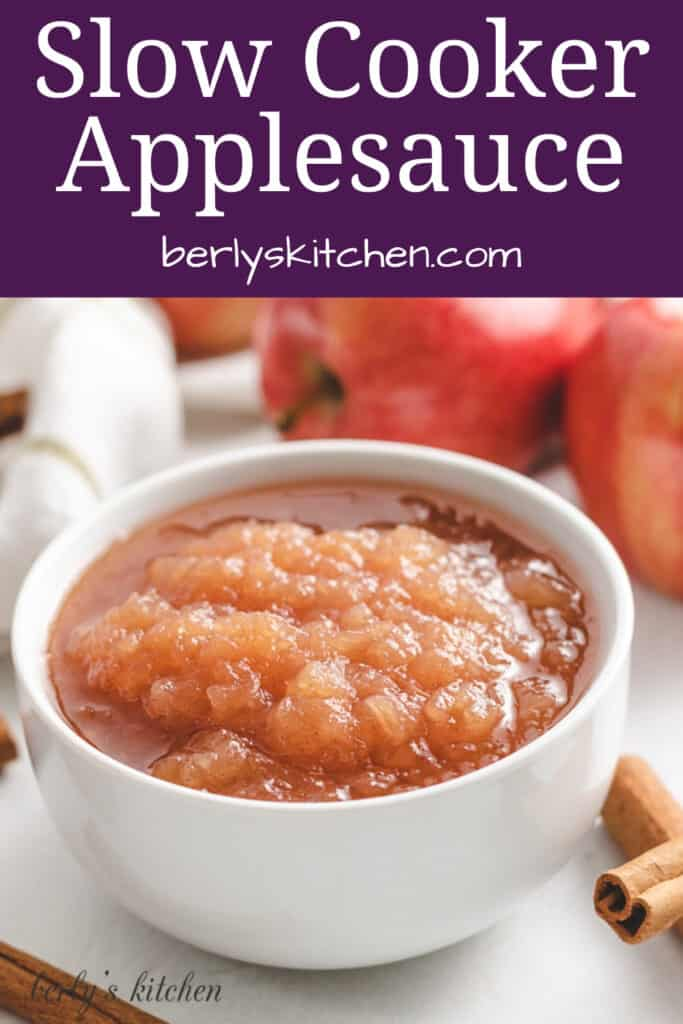 A bowl of the slow cooker applesauce.