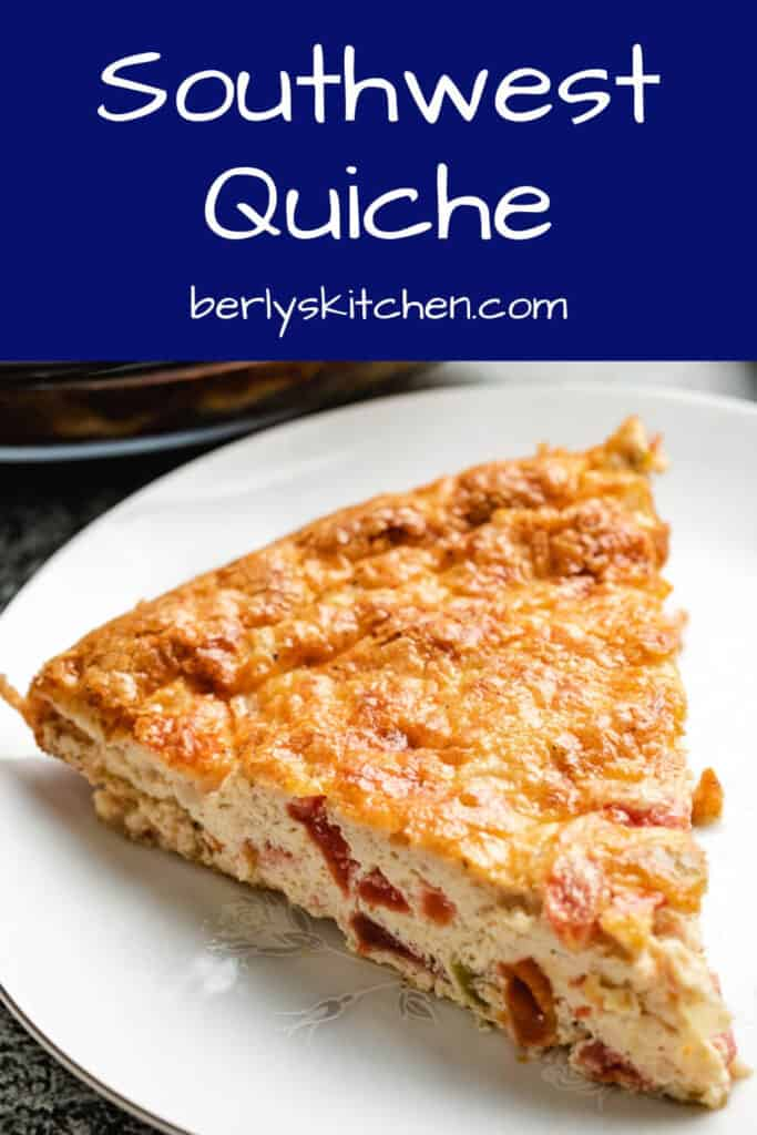 A small slice of the crust less Southwest quiche.