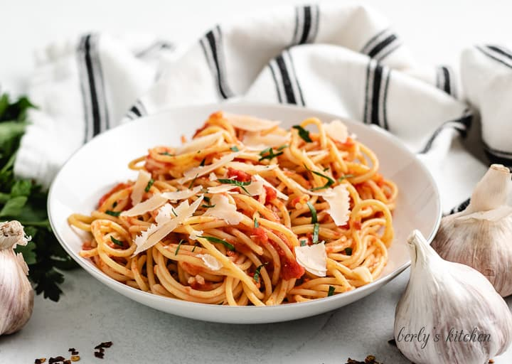 A pasta bowl loaded with fresh spaghetti arrabiata.