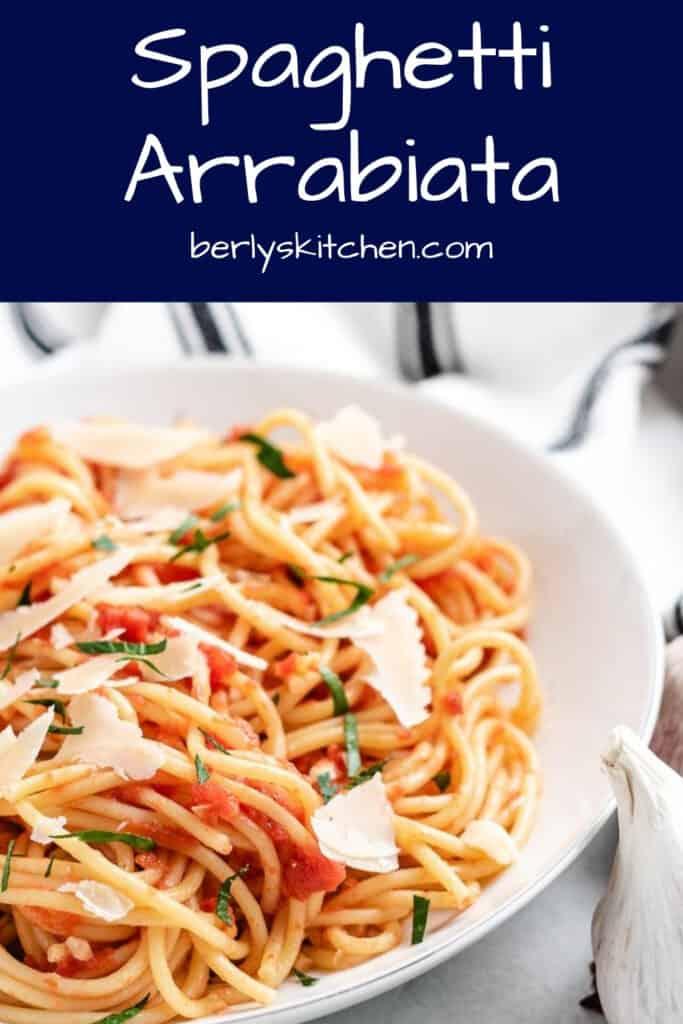 A close-up view of the spaghetti arrabiata in a bowl.