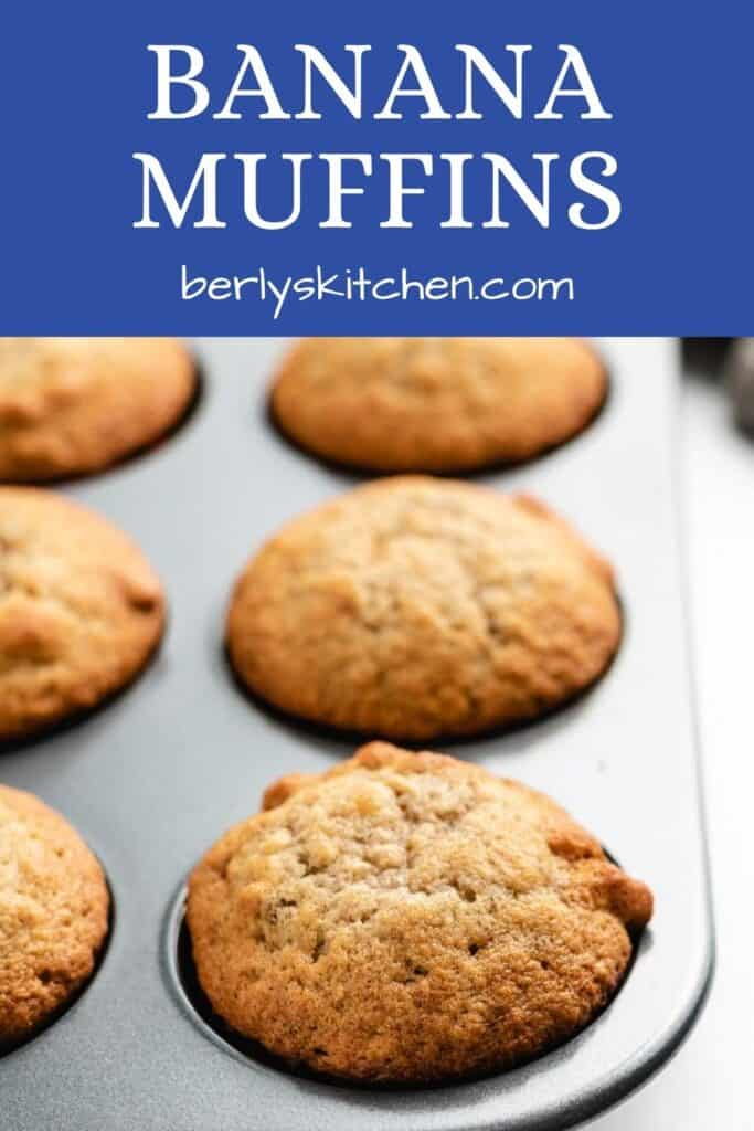 The fresh baked banana bread muffins in a pan.