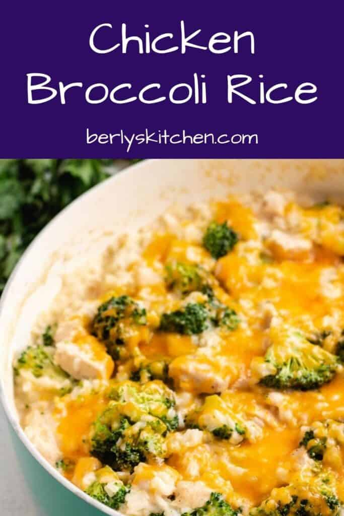 The cheesy chicken rice and broccoli in a pot.