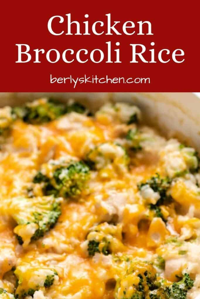 A close-up of the cheesy chicken rice and broccoli dinner.