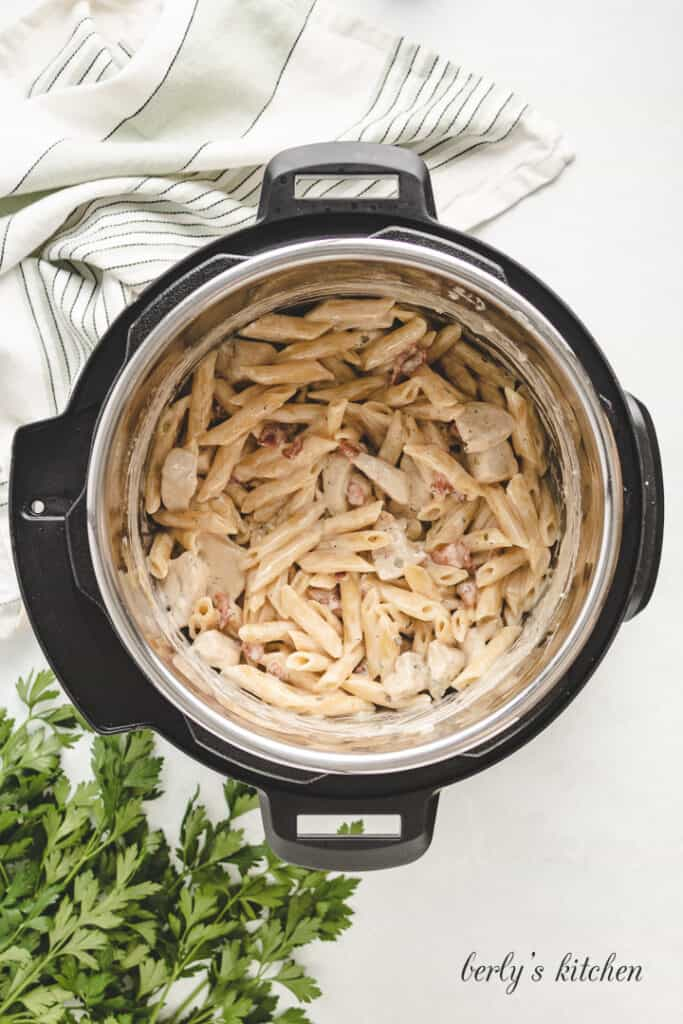 Chicken bacon ranch pasta in the Instant Pot.
